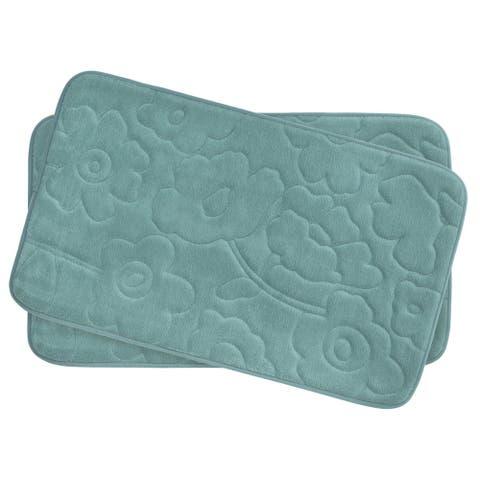 Stencil Floral Memory Foam 17 in. x 24 in. 2-Piece Bath Mat Set w/ BounceComfort Technology