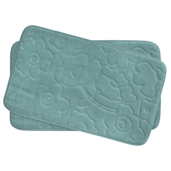 Stencil Floral Memory Foam 17 in. x 24 in. 2-Piece Bath Mat Set w/ BounceComfort Technology