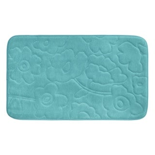Stencil Floral Memory Foam 20 in. x 34 in. Bath Mat w/ BounceComfort Technology