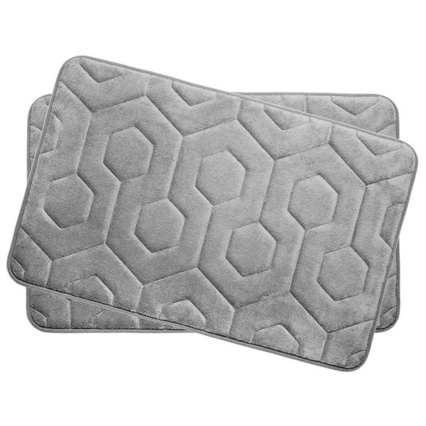Hexagon Memory Foam 17 in. x 24 in. 2-Piece Bath Mat Set w/ BounceComfort Technology