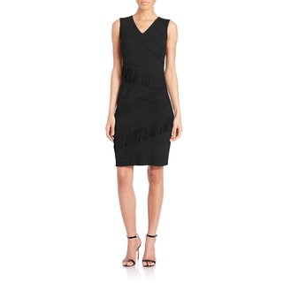 Elie Tahari Black Suede Fringe Blythe Dress