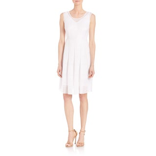 Elie Tahari Jessy White Gauze Polyester Sleeveless V-neck Dress