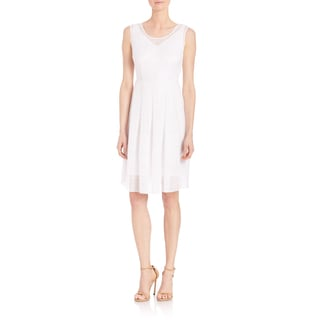 Elie Tahari Jessy White Gauze Sleeveless V-neck Dress
