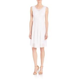 Elie Tahari Jessy White Gauze Sleeveless V-neck Dress