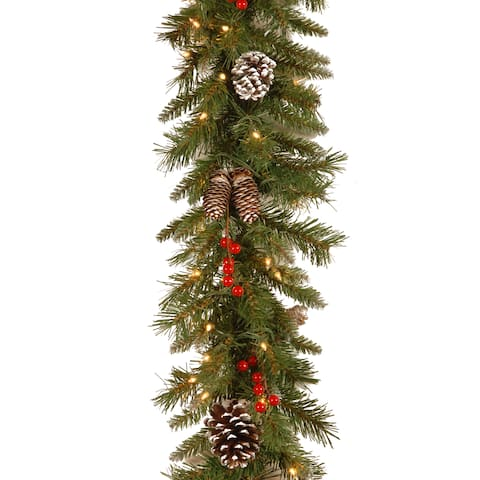 Frosted Berry Clear-lit 9-foot Garland