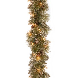 Artificial Bristle Pine 9-foot Glittery Garland With Clear Lights