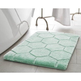 Laura Ashley Pearl Honeycomb 20 in. x 32 in. Bath Mat