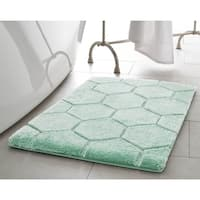 Laura Ashley Pearl Honeycomb 20 in. x 32 in. Bath Mat