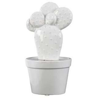 Urban Trends Collection Gloss White Ceramic Prickly Pear Cactus in Pot Figurine