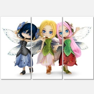 Fairy Friends Posing Together - Portrait Painting Glossy Alumimium 36Wx28H