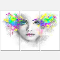 Gray Woman with Green Flowers - Portrait Digital Art Glossy Alumimium 36Wx28H