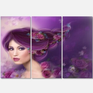 Woman with Purple Hair - Portrait Digital Art Glossy Alumimium 36Wx28H