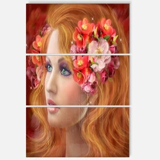Woman with Autumn Flowers - Portrait Digital Art Glossy Alumimium 28Wx36H