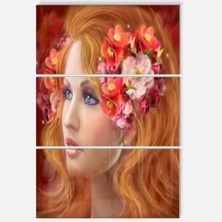 Woman with Autumn Flowers - Portrait Digital Art Glossy Alumimium 28Wx36H