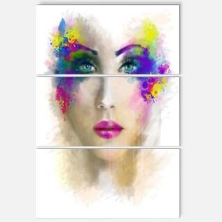 Fantast Woman with Blue Flowers - Portrait Digital Art Glossy Alumimium 28Wx36H