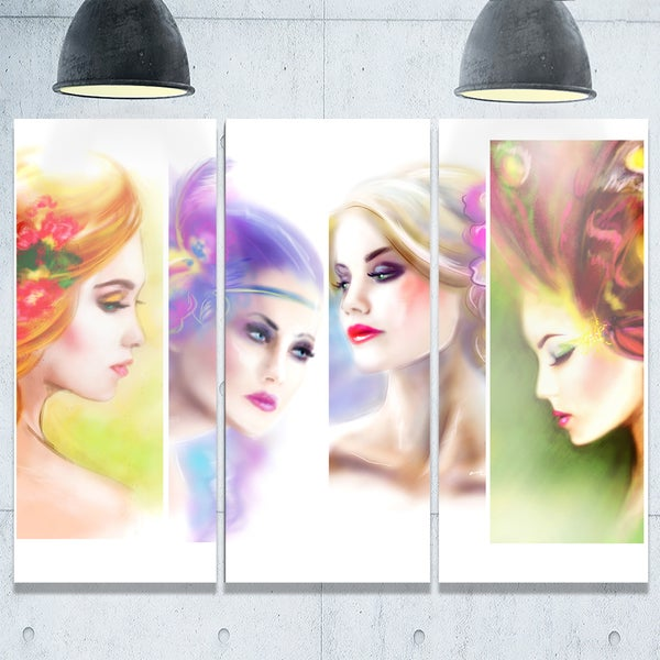 Colorful Women Face Collage - Portrait Digital Art Glossy Alumimium 36Wx28H