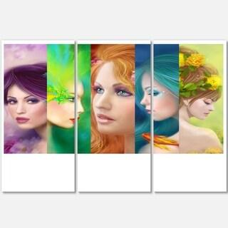 Beautiful Women Face Collage - Portrait Digital Art Glossy Alumimium 36Wx28H
