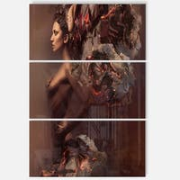 Sexy Woman in Burning Paper - Art Portrait Glossy Alumimium 28Wx36H - 28 in. wide x 36 in. high - 3 panels