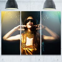 Woman in Yellow with Mask - Art Portrait Glossy Alumimium 36Wx28H