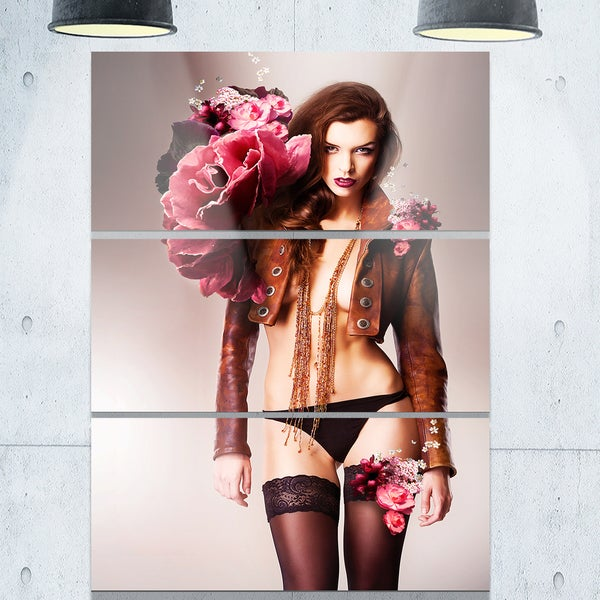 Erotic Flower Woman in Panties - Art Portrait Glossy Alumimium 28Wx36H