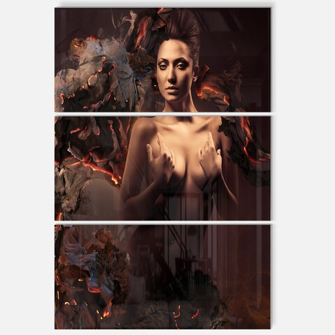 Sexy Nude Woman in Burning Paper - Art Portrait Glossy Alumimium 28Wx36H