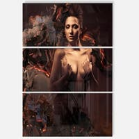 Sexy Nude Woman in Burning Paper - Art Portrait Glossy Alumimium 28Wx36H - 28 in. wide x 36 in. high - 3 panels