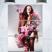 Erotic Flower Woman in Jacket - Art Portrait Glossy Alumimium 28Wx36H