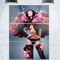 Erotic Sexy Woman in Flowers - Art Portrait Glossy Alumimium 28Wx36H