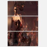 Nude Woman in Burning Ashes - Portrait Art Glossy Alumimium 28Wx36H