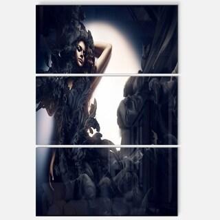 Fashion Woman in Black Smoke - Portrait Art Glossy Alumimium 28Wx36H