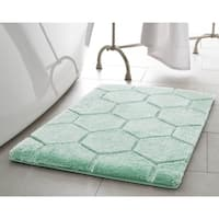 Laura Ashley Pearl Honeycomb 17 in. x 24 in. Bath Mat