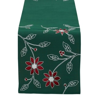 Poinsettia Embroidered Polyester Table Runner (14 x 70)