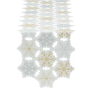 14-inch x 54-inch Snowflake Embroidered Table Runner