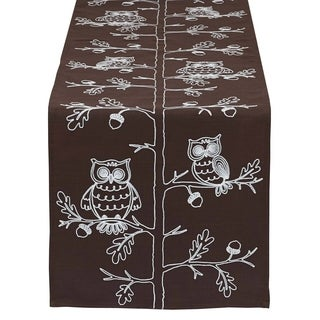 Multicolored Polyester Owl-themed Embroidered Table Runner