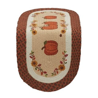 Country Pumpkin Braided Jute 14-inch x 36-inch Table Runner