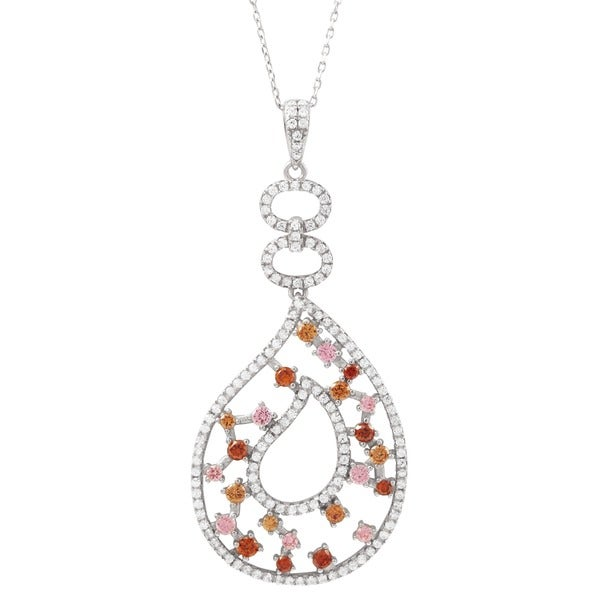 Luxiro Sterling Silver Multi-color Cubic Zirconia Teardrop Pendant Necklace. Opens flyout.