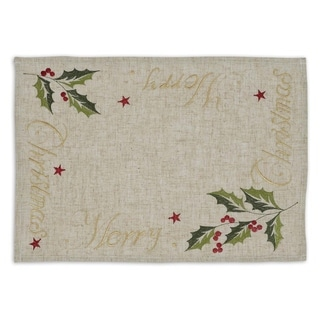 Multicolor Cotton-blend 'Merry Christmas' Embroidered Placemats (Pack of 6)