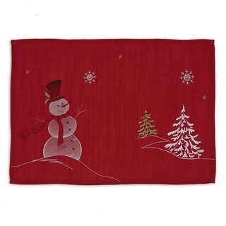 Red/Multicolor Polyester Snowman Embroidered Placemats (Pack of 6)