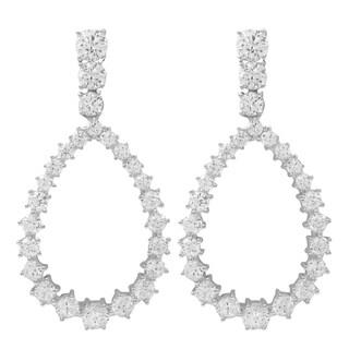 Luxiro Sterling Silver Cubic Zirconia Open Teardrop Earrings