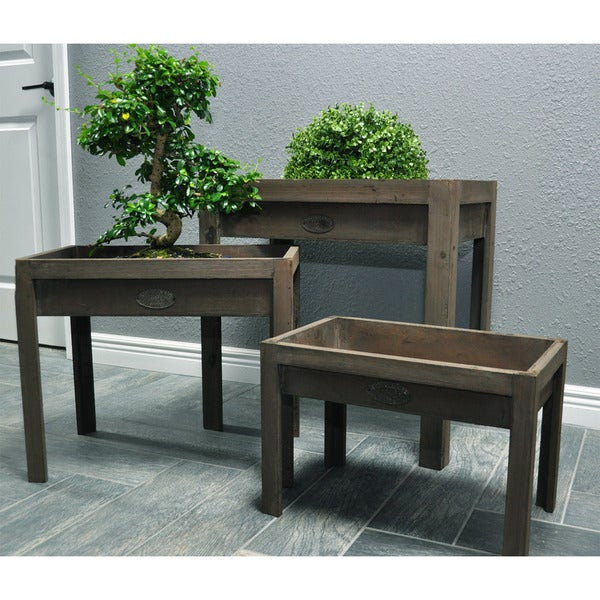 Pyper Marketing 3 Piece Distressed Wooden Potting Tables Set
