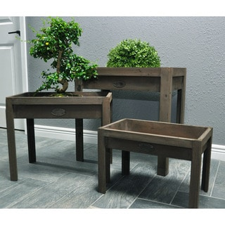 Distressed Wooden Potting Tables Set (3 Pieces)