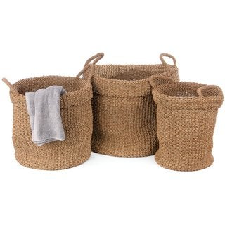 Pyper Marketing Vivian Brown Seagrass Storage Baskets (Set of 3)