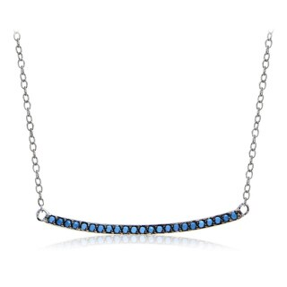 Glitzy Rocks Sterling Silver Simulated Turquoise Bar Necklace