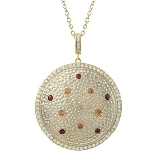 Luxiro Gold Finish Sterling Silver Cubic Zirconia Hammered Circle Pendant Necklace