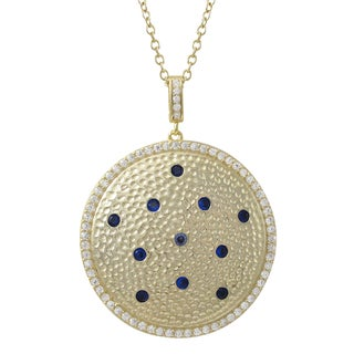 Luxiro Gold Finish Sterling Silver Lab-created Sapphire and Cubic Zirconia Pendant Necklace
