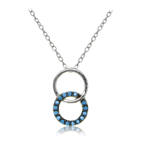 Glitzy Rocks Sterling Silver Simulated Turquoise Double Circle Necklace - Green. Opens flyout.