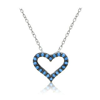 Glitzy Rocks Sterling Silver Simulated Turquoise Open Heart Necklace