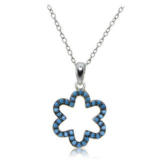 Glitzy Rocks Sterling Silver Simulated Turquoise Flower Necklace