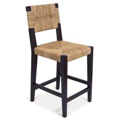 BirdRock Home Rush Weave Counter Stool with Back