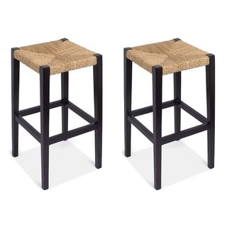 BirdRock Home Woven Rush Backless Barstools (Set of 2)